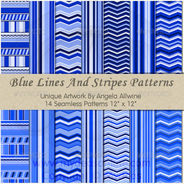 Blue Lines And Stripes Pattern Set