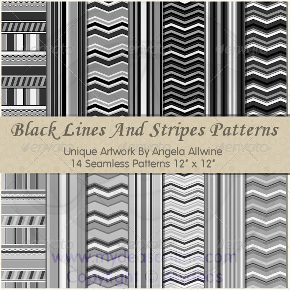 GraphicRiver Black Lines And Stripes Pattern Set 6564611