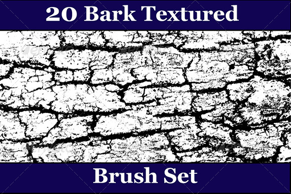 GraphicRiver 20 Bark Texture Photoshop Brush Set 6564733
