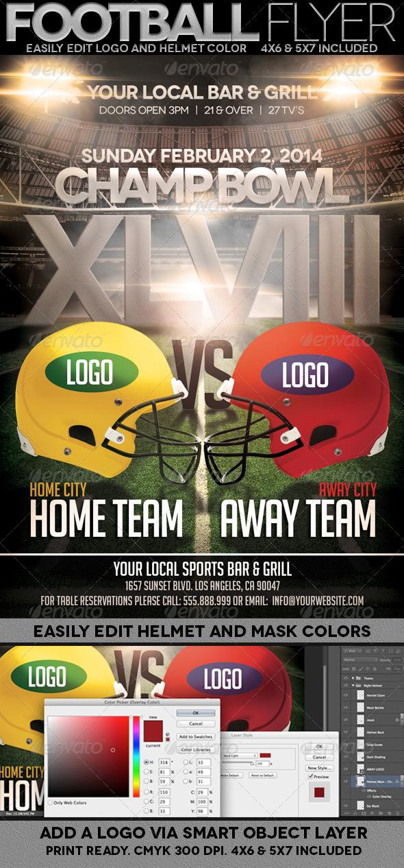 Football Championship Bowl Flyer