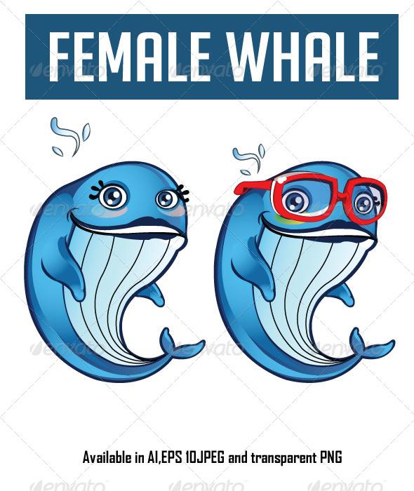 GraphicRiver Female Whale Cartoon 6565768
