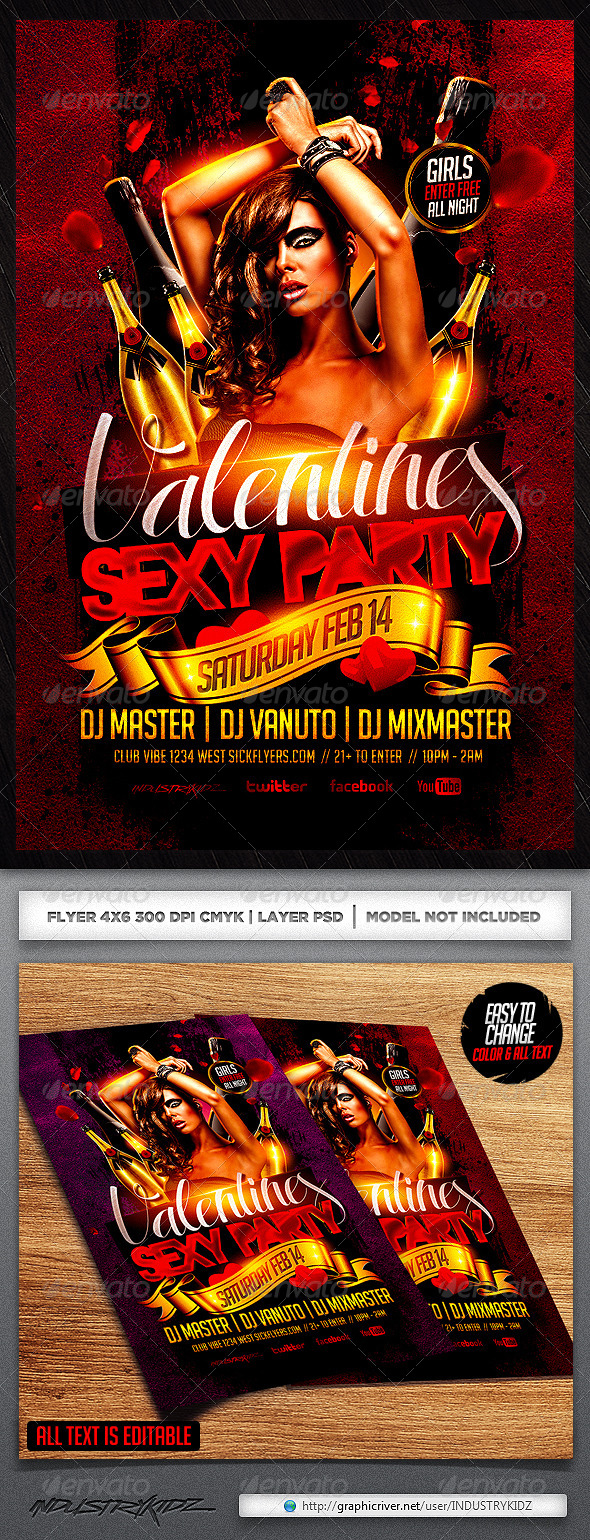 Valentine Party Flyer Template - Holidays Events