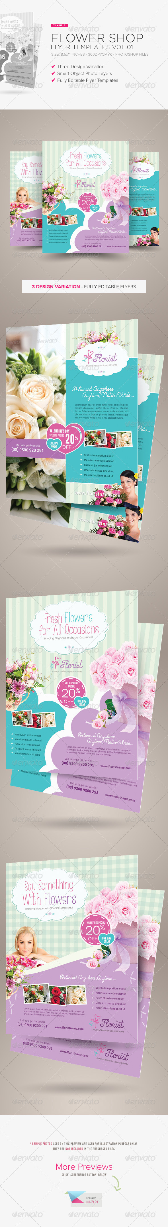 GraphicRiver Flower Shop Flyer Templates 6566352