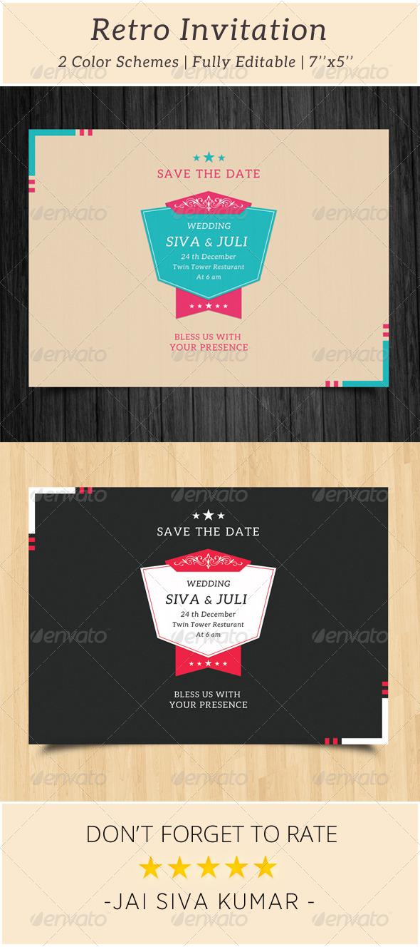 GraphicRiver Retro Wedding Invitation 6566720