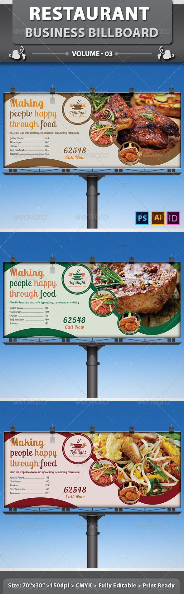 Restaurant Business Billboard | Volume 3 - Signage Print Templates