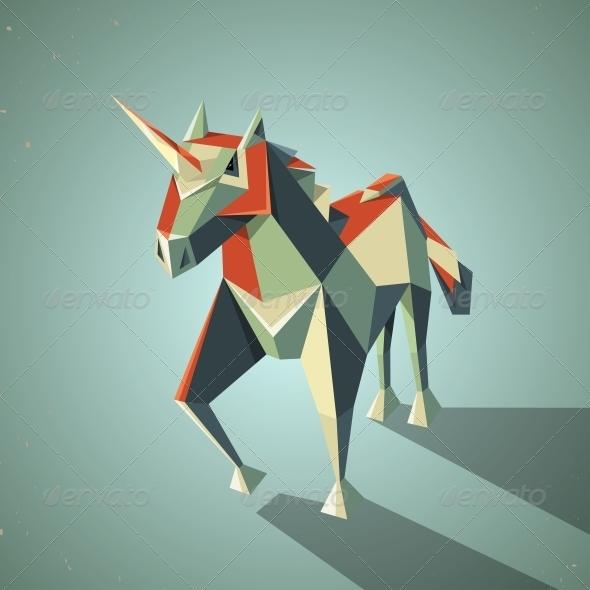 GraphicRiver Origami Unicorn 6567427