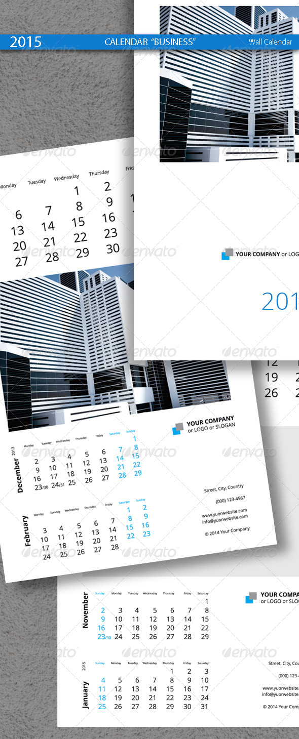 Business Calendar Template 2015 2014
