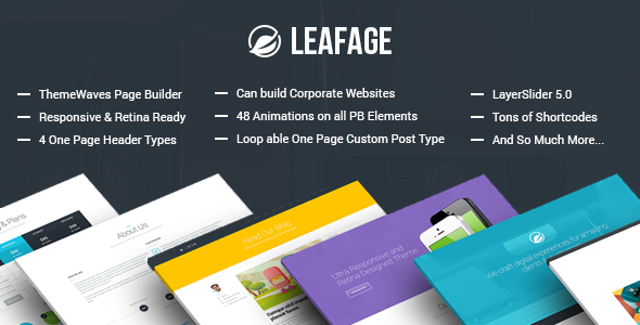 ThemeForest Leafage One Page & Corporate Responsive Theme 6569312