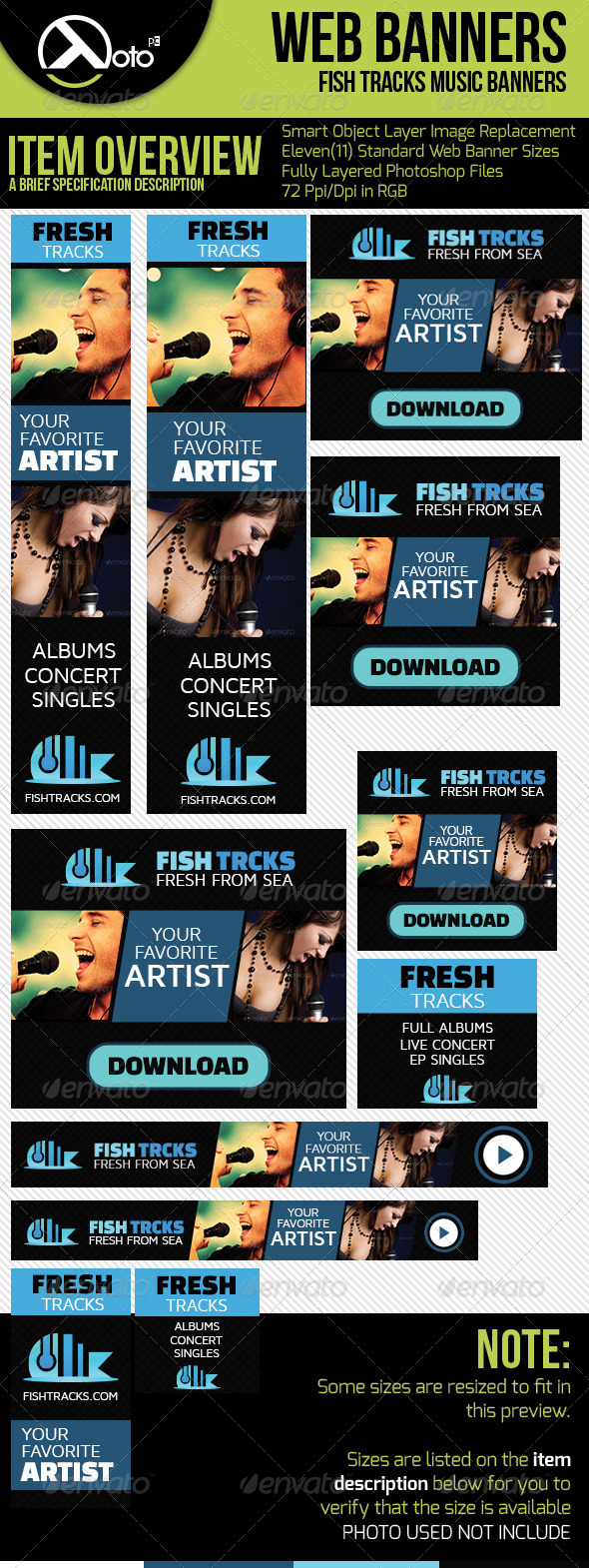 GraphicRiver Fish Tracks Online Music Store Web Banners 6569562