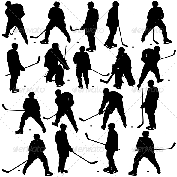 GraphicRiver Set of Silhouettes of Hockey Players 6569631