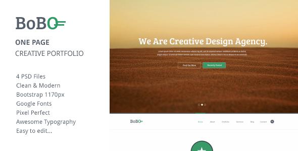 Bobo - One Page Creative Portfolio PSD Template - Portfolio Creative