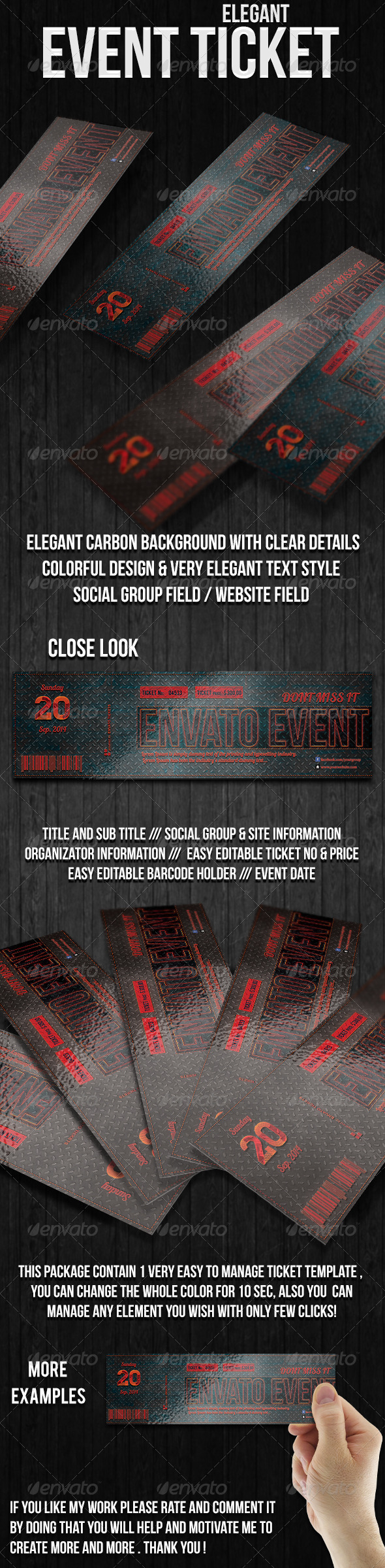 GraphicRiver Elegant Carbon Event Ticket 6570434
