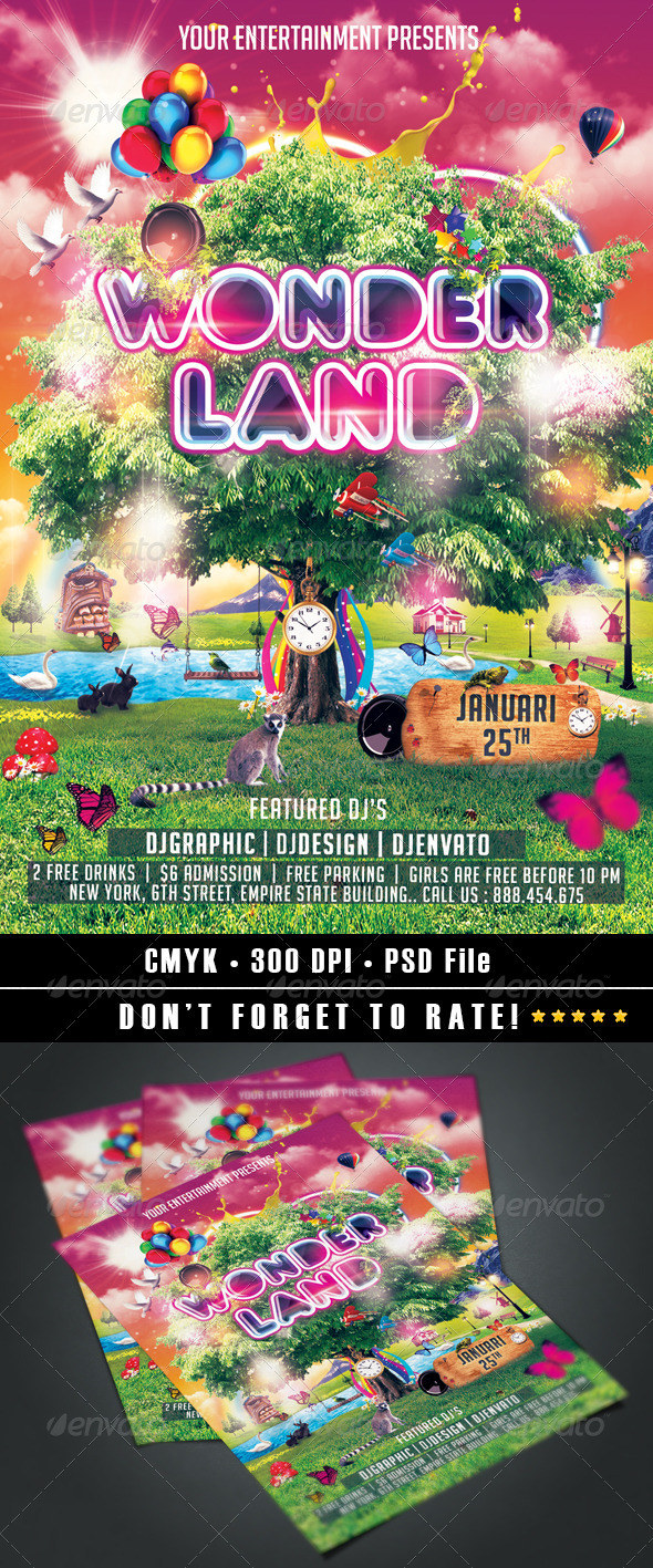 Wonderland Flyer - Events Flyers