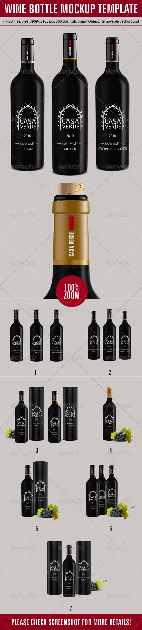 Wine Bottle Mockup Template - Product Mock-Ups Graphics