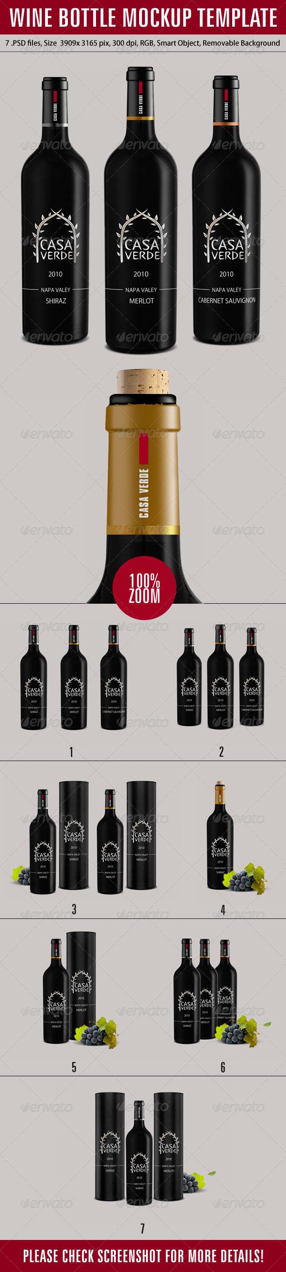 GraphicRiver Wine Bottle Mockup Template 6573257