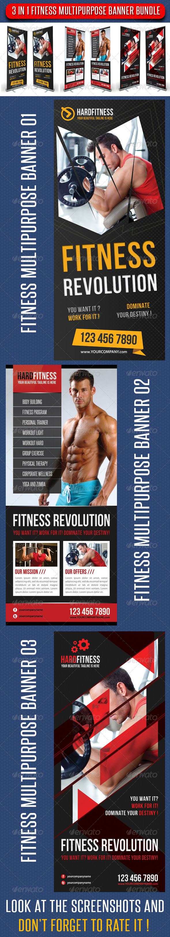 GraphicRiver 3 in 1 Fitness Multipurpose Banner Bundle 01 6573261