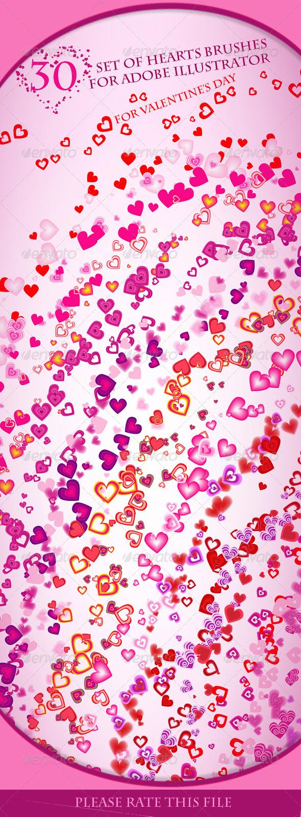 GraphicRiver Set of Hearts Brushes for Adobe Illustrator 6573438