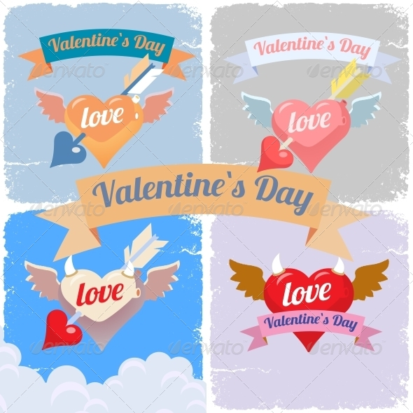 GraphicRiver Valentines Day Flying Hearts Set 6573817