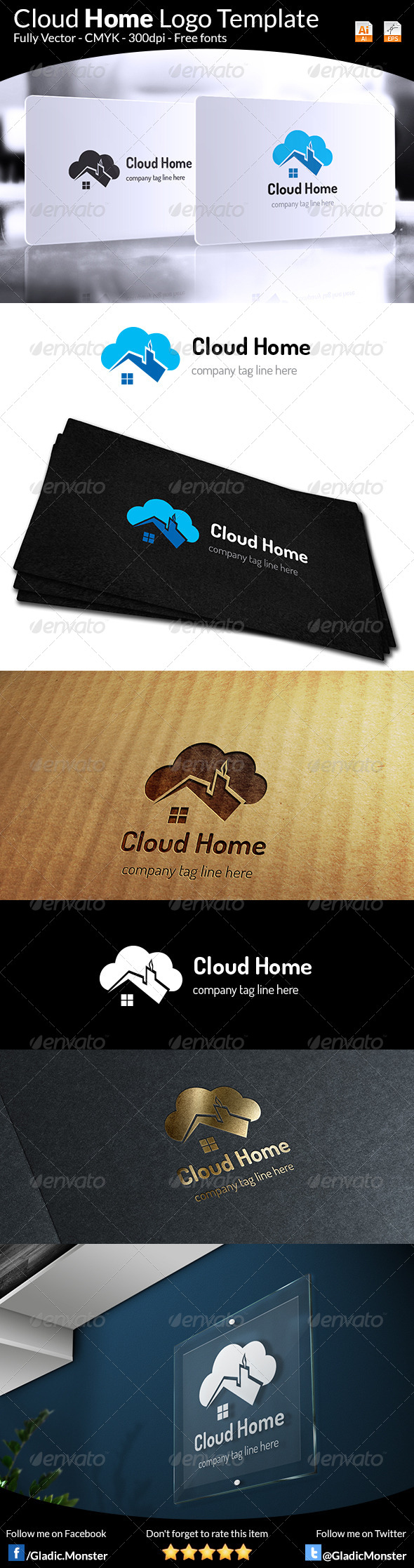 Cloud Home Real Estate Logo - Symbols Logo Templates