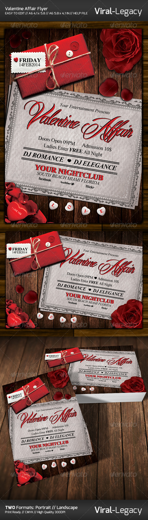 GraphicRiver Valentine Affair Flyer 6574388