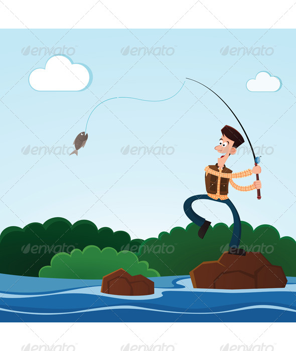 GraphicRiver Fishing in the River 6574416