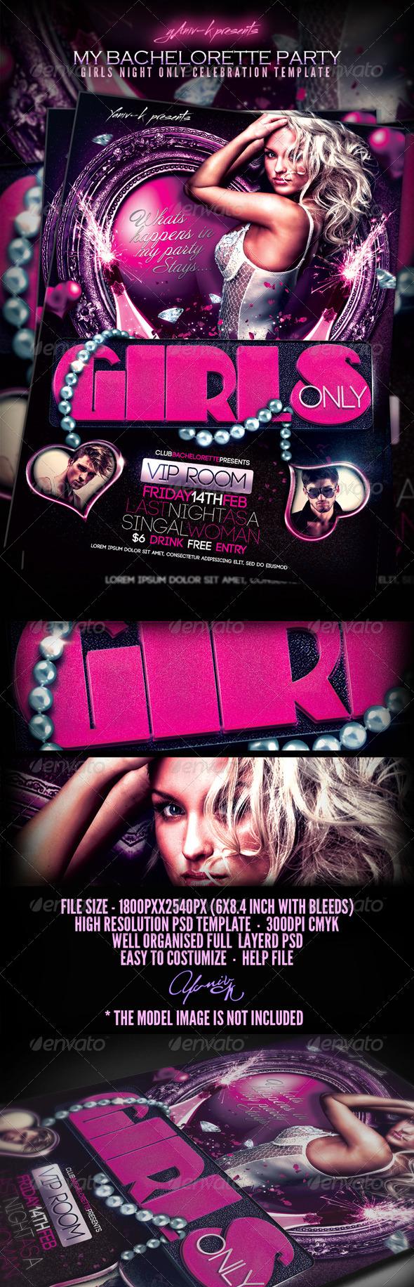 My Bachelorette/ Girls Night Party Invitation (Flyers ...
