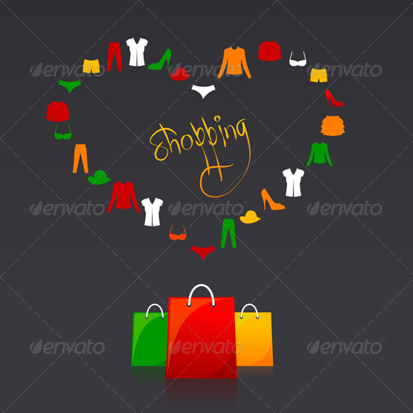 Shopping Bags and Clothes Heart Card