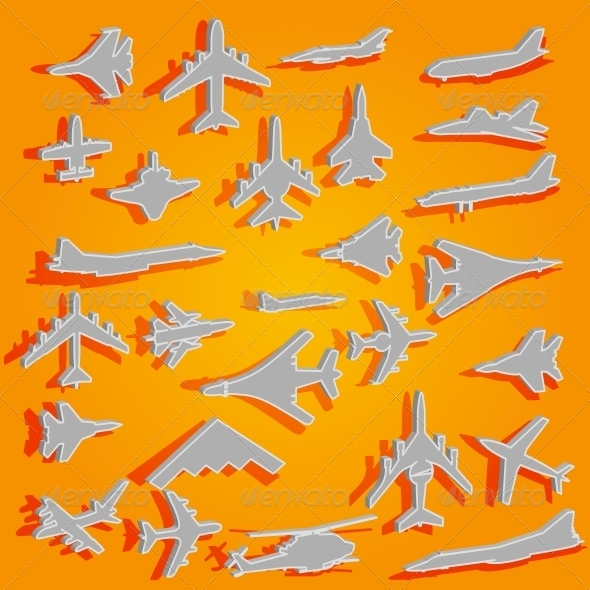 GraphicRiver Airplane Stickers 6575644