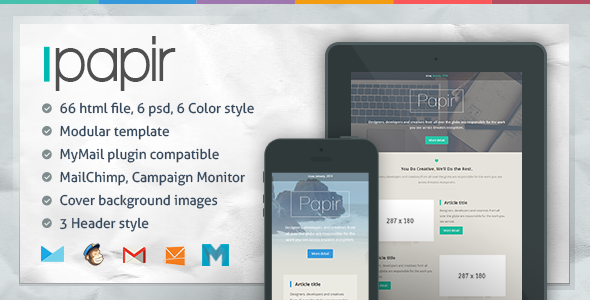 01 Image Preview.  large preview Papir   Responsive Email Template (Newsletters)