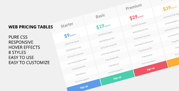 Web Pricing Tables
