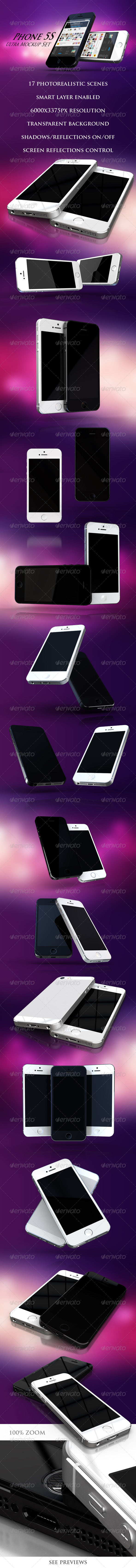 Phone 5S Ultra Mockup Set - Mobile Displays