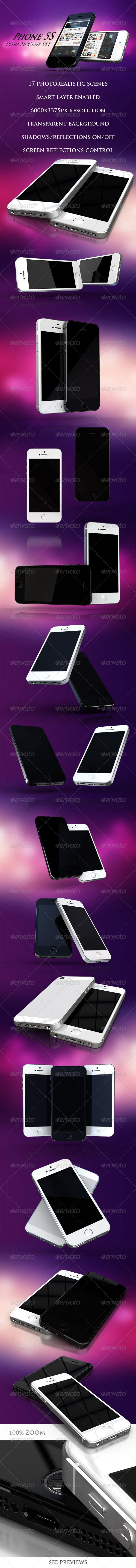 GraphicRiver Phone 5S Ultra Mockup Set 6572381