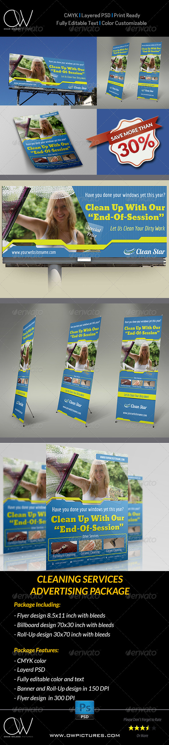 GraphicRiver Cleaning Services Advertising Bundle 6576478