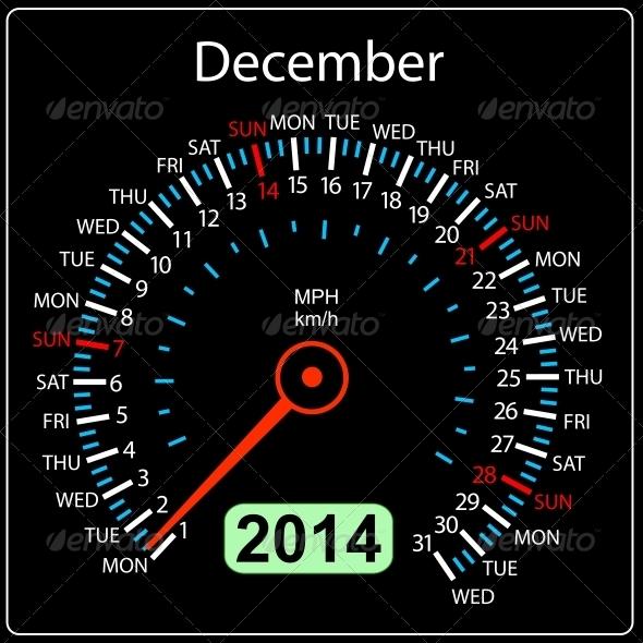 GraphicRiver 2014 December Calendar Car Speedometer 6577199
