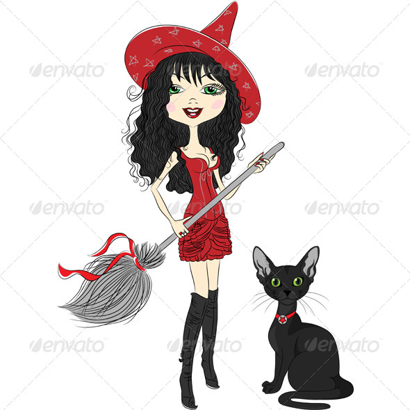 GraphicRiver Girl Witch with a Broom and Black Cat 6577264