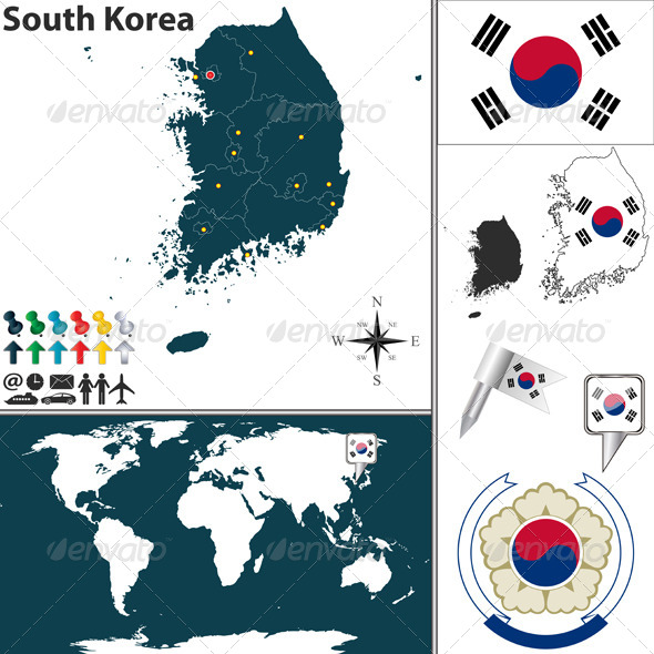 GraphicRiver Map of South Korea 6577701