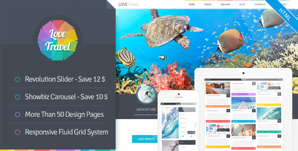 theme preview.  large preview Love Travel   Creative Travel Agency Theme HTML5 (Travel)
