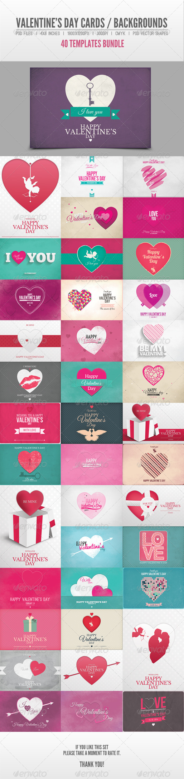 GraphicRiver 40 Valentine s Day Cards Backgrounds Bundle 6578750