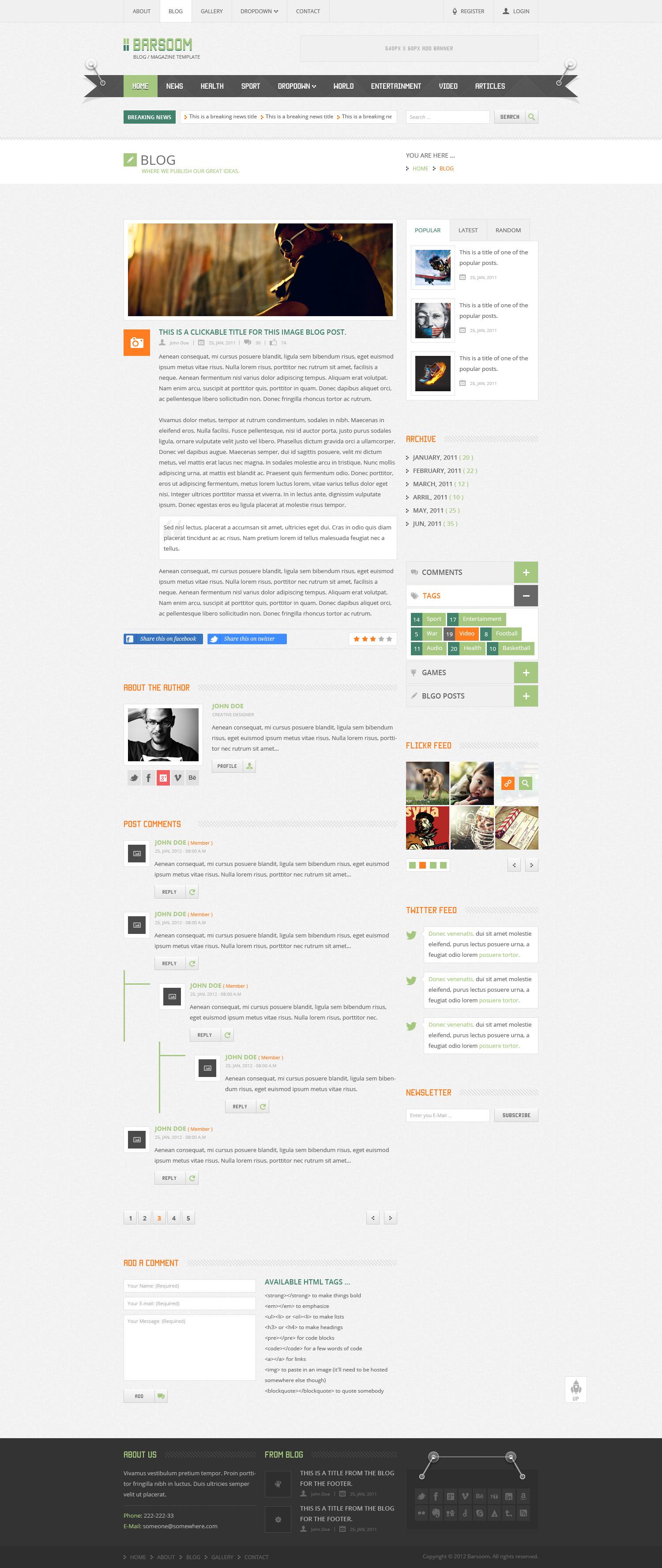 Barsoom HTML Multiple Purpose Template