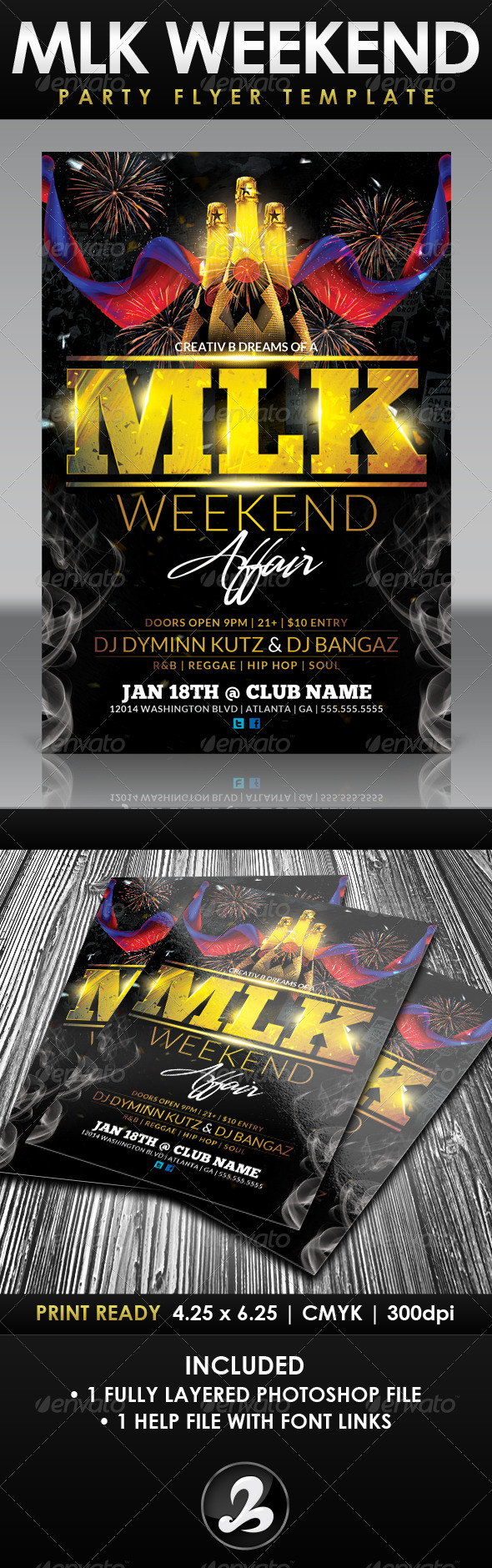 GraphicRiver MLK Weekend Party Flyer Template 6578964