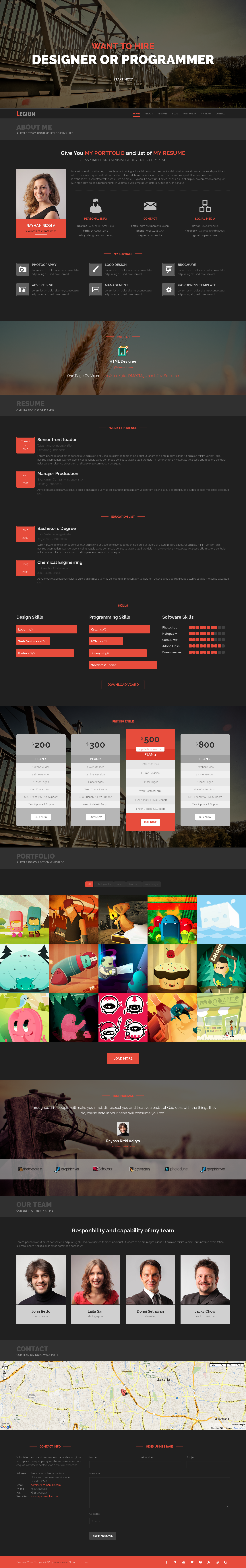 Legion | One Page Resume Responsive HTML Template