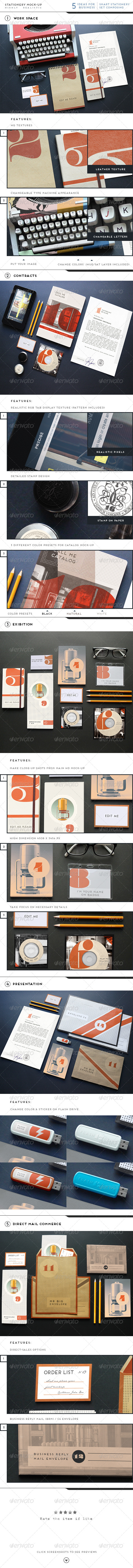 GraphicRiver Realistic Stationery Branding Mock-Up 6579553
