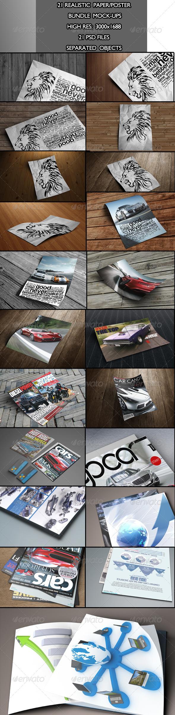 Realistic Paper Poster Bundle Mock-Ups