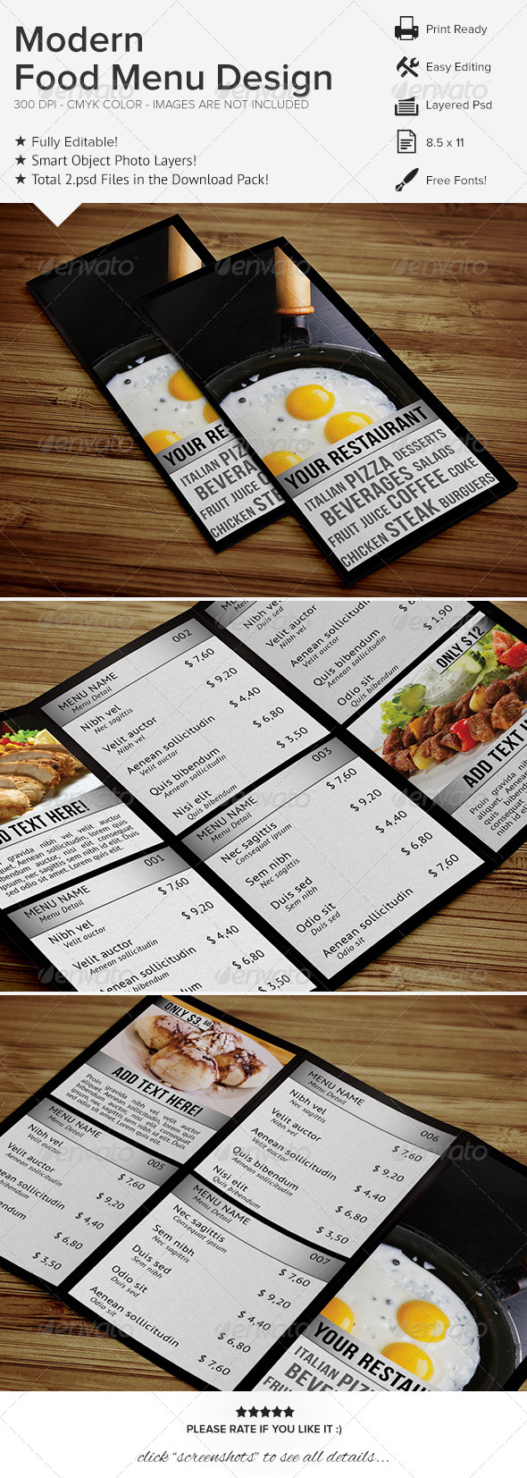 GraphicRiver Modern Food Menu Design 6580582