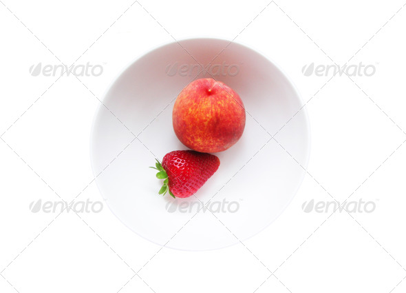 Peach and Strawberry in a Bowl - Stock Photo - Images