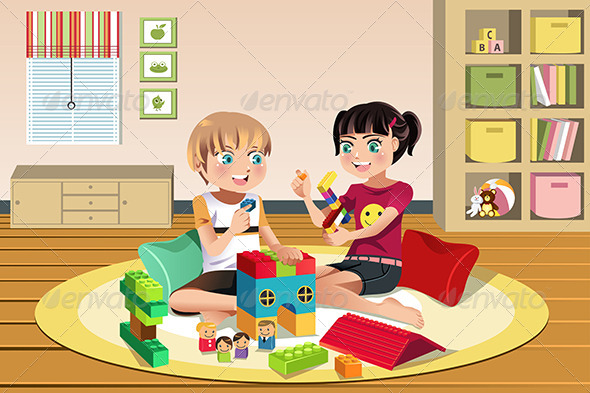 GraphicRiver Kids Playing Toys 6581485