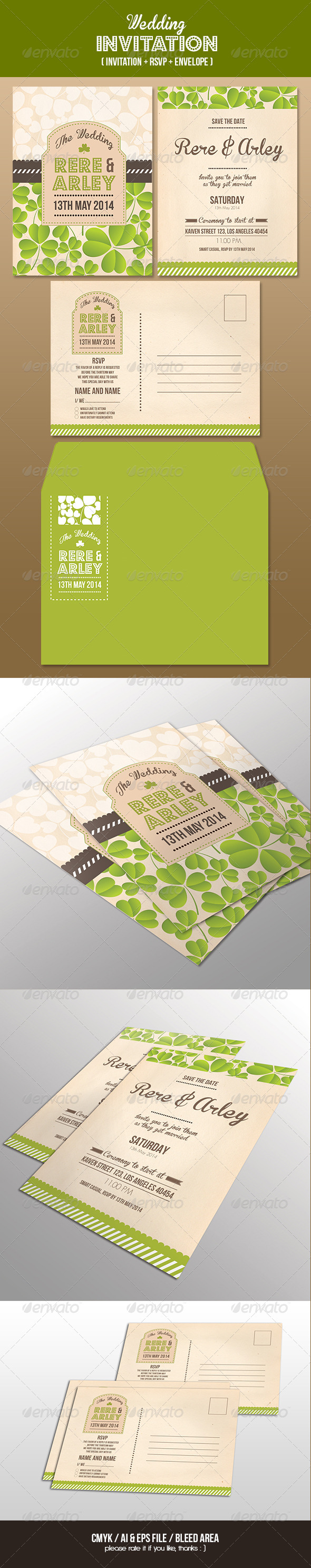 GraphicRiver Wedding Invitation Set 6582151