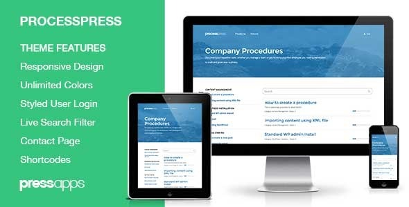 Theme Features Responsive Design Unlimited Theme Colors Mark Procedure Steps as Read Add Comments to Procedure Steps Custom Procedures Widget jQuery Live Filte