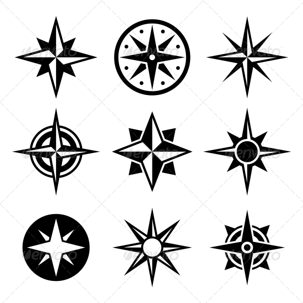 GraphicRiver Compass and Wind Rose Icons Set 6582514