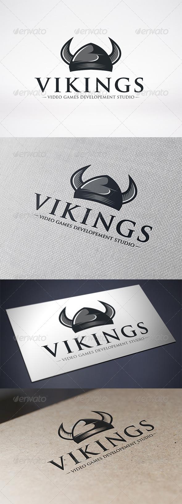 Viking Helmet Logo Template